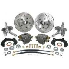 Chevy Power Front Disc Brake Kit, At The Wheel, With Ford Bolt Pattern, Drilled & Slotted Rotors, & 2 Dropped Spindles, For Mustang II, 1949-1954