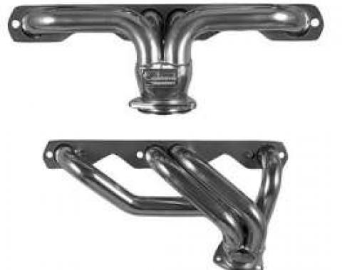 Chevy Headers, Silver Ceramic Coated, Sanderson, Small Block V8, For Stock Front Suspension, 1949-1954