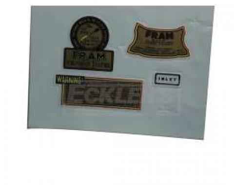 Chevy Oil Filter Decals, Fram, 4-Piece, 1949-1954