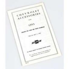 Chevy Price List Booklet, Accessory, New Car, 1953