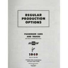 Chevy Catalog, Regular Production Options (RPO), 1949