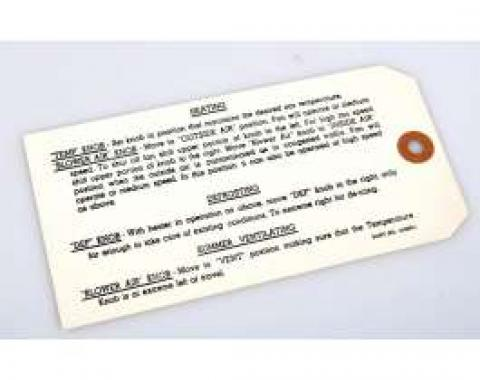 Chevy Standard Heater Instruction Tag, 1953-1954