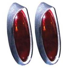 Chevy Custom Taillight Lenses, One-Piece, Deep, 1954