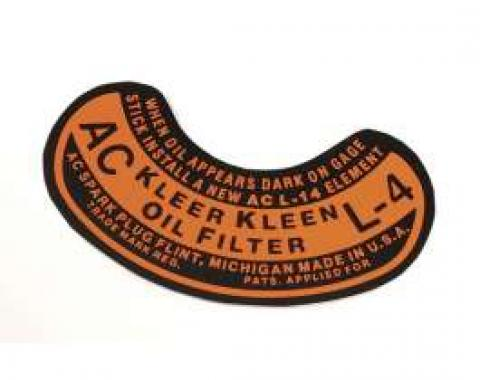 Chevy Oil Filter Decal, L-4, AC, 1949-1954