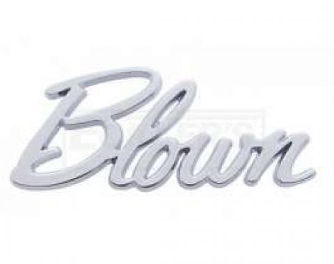 Early Chevy Blown Script Emblem, Chrome, 1949-1954