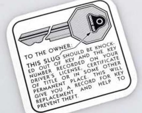 Chevy Glove Box Key Instruction Decal, 1949-1954