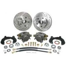 Chevy Power Front Disc Brake Kit, At The Wheel, For Mustang II, With Chevy Bolt Pattern, Drilled & Slotted Rotors, Without Spindles, For Mustang II, 1949-1954