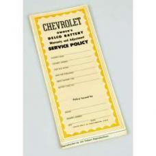 Chevy Battery Warranty, Delco, 1953-1954