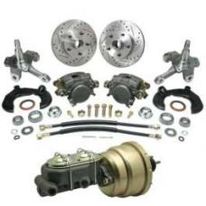 Chevy Power Front Disc Brake Kit, With Chevy Bolt Pattern, Drilled & Slotted Rotors, For Mustang II, 1949-1954