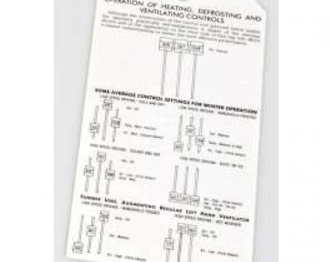 Chevy Deluxe Heater Instruction Tag, 1953-1954
