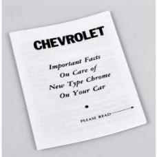Chevy Chrome Care Instruction Folder, 1953-1954