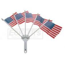 Chevy Chrome Flag Holder, With Five American Flags, 1949-1954