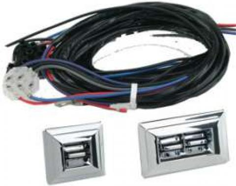 Chevy Power Window Switches With Wiring, 2 Or 4-Door, 2-Windows, 1949-1954