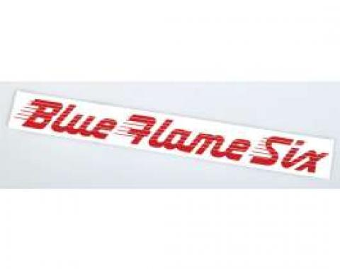 Chevy Valve Cover Decal, Blue Flame Six, 6-Cylinder, 1949-1952