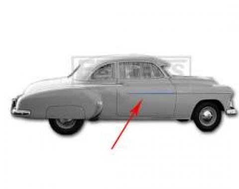 Chevy Door Molding, Stainless Steel, Left Or Right, 1949-1950