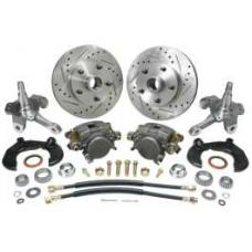 Chevy Power Front Disc Brake Kit, At The Wheel, With Ford Bolt Pattern, Drilled & Slotted Rotors, For Mustang II, 1949-1954