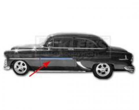 Chevy Door Molding, Stainless Steel, Left Or Right, 2 Door Models, 1953-1954