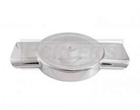 Early Chevy Polished Aluminum Low Profile Air Box For Four Barrel Carburetor, Dual Oval Inlets