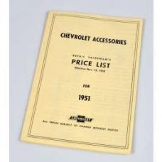 Chevy Price List Booklet, Accessory, New Car, 1951