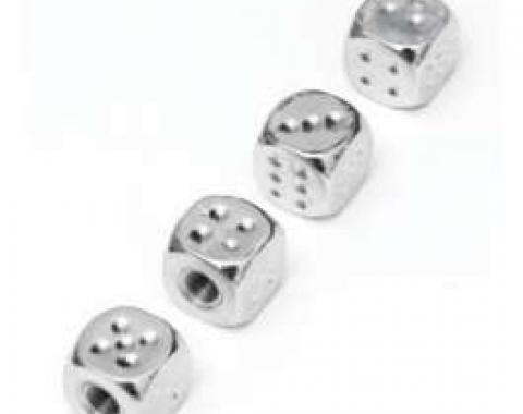 Dice Valve Stem Caps, Chrome