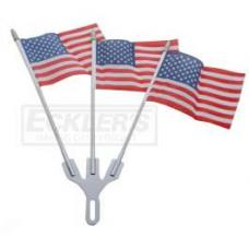 Chevy Chrome Flag Holder, With Three American Flags, 1949-1954