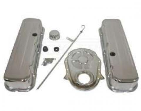 Early Chevy Big Block Chrome Engine Dress Up Kit With Short Smooth Style Valve Covers