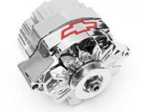 Chevy Alternator, 120 Amp, 1-Wire, Chrome With Bowtie, 1949-1954