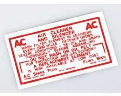 Chevy Air Cleaner Decal, Non-Oil Bath, 6-Cylinder, 1949-1954