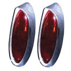 Chevy Custom Taillight Lenses, One-Piece, Shallow, 1954