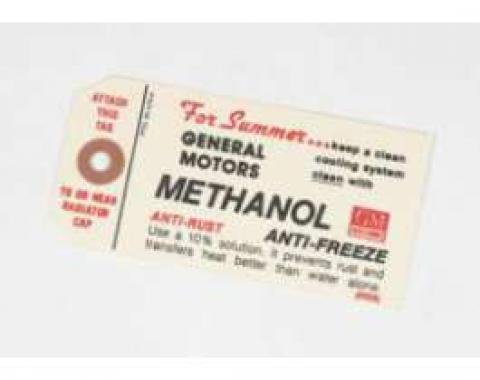 Chevy Methanol Anti-Freeze Tag, 1949-1954