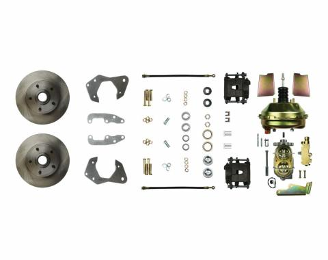 """Right Stuff Power Front Stock Height Disc Brake Conversion Kit with 9"""" Brake Booster & Master Cylinder, Standard Rotors and Natural Finish Calipers for 65-70 Chevy car. FSC65DCC"""