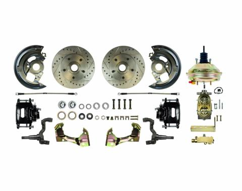 """Right Stuff Power Front Stock Height Disc Brake Conversion Kit with a 9"""" 3 Stud Brake Booster & Master Cylinder, Drilled and Slotted Rotors, Black Powder Coated Calipers and Stainless Hoses for 62-67 Chevy II. AFXDC03CS"""
