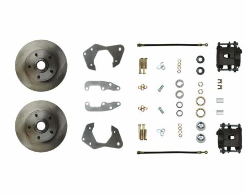 Right Stuff Stock Height Front Wheel Kit with Standard Rotors, Natural Finish Calipers, Hoses, Backing Plates, Caliper Brackets and more for 65-70 Chevy car. FSC65WKC