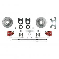 Right Stuff Signature Series Big Brake Rear Disc Conversion Kit with Drilled & Slotted Rotors, Red Powder Coated Calipers, Stainless Hoses, E-brake cables and more for 62-67 Chevy II. AFXRD33Z