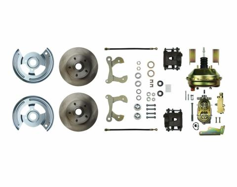 """Right Stuff Power Front Stock Height Disc Brake Conversion Kit with 9"""" Brake Booster & Master Cylinder, Standard Rotors and Natural Finish Calipers for 55-57 Chevy car. FSC55DCC"""