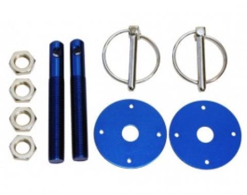 Aluminum Hood Pin Kit, Blue