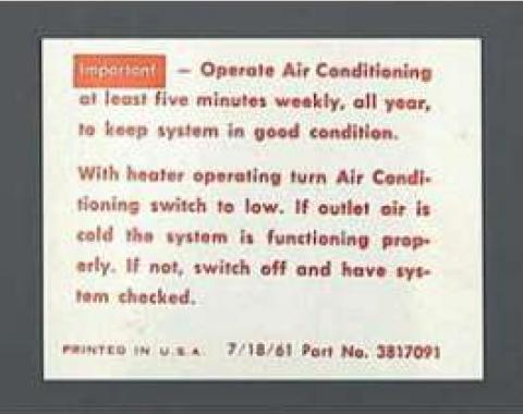 Full Size Chevy Air Conditioning Maintenance Instructions Decal, 1962