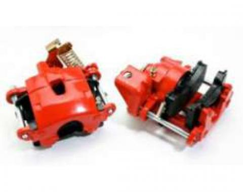 Full Size Chevy Disc Brake Calipers, Rear, Red Powder Coated, 1958-1964