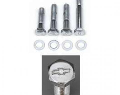 Full Size Chevy Bowtie Water Pump Bolt Set, Small Block With Short Water Pump, Chrome, 1958-1972