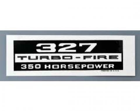 Full Size Chevy Valve Cover Decal, 327ci/350hp Turbo-Fire, 1958-1964