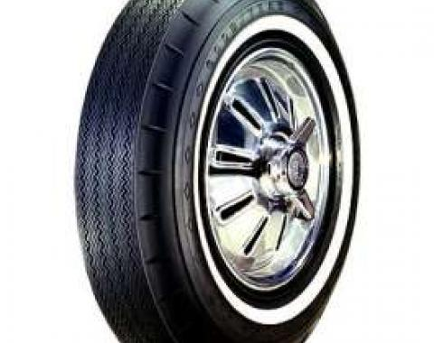 Full Size Chevy Tire, 8.00/14 With 1 Wide Whitewall, Goodyear Custom Super Cushion Bias Ply, 1962-1964