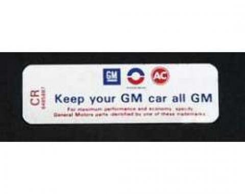 Full Size Chevy Air Cleaner Decal, Keep Your GM Car All GM, 350ci/270hp, 1970