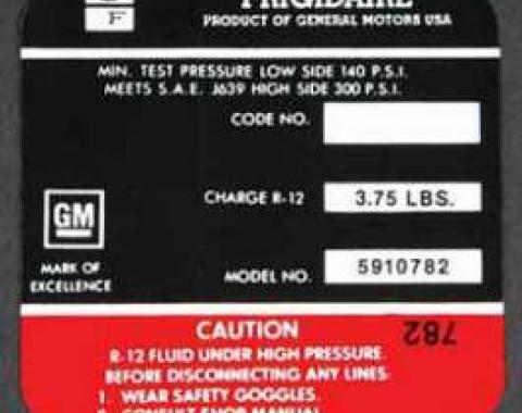Full Size Chevy Air Conditioning Compressor Decal, Frigidaire, 1971