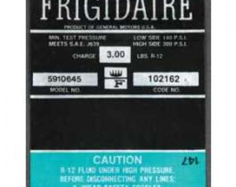 Full Size Chevy Air Conditioning Compressor Decal, Frigidaire, 1967-1968