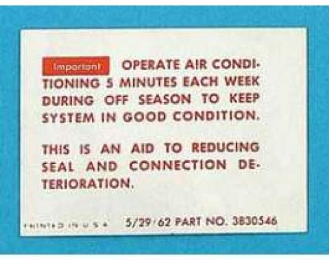 Full Size Chevy Conditioning Maintenance Instructions Decal, 1963