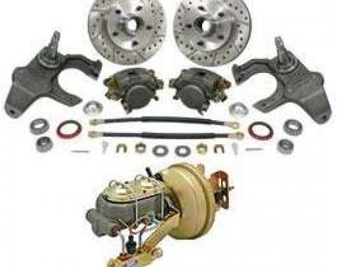Full Size Chevy Front Drop Spindle Power Disc Brake Kit, 1965-1970