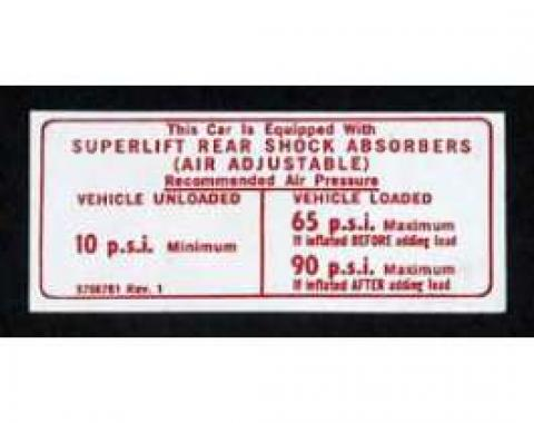Full Size Chevy Air Shock Instruction Decal, 1971-1974