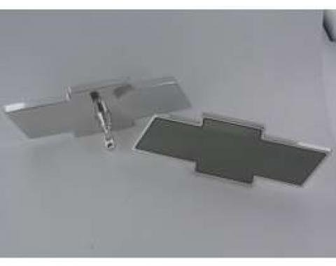Full Size Chevy Interior Mirror, Bowtie Shaped, Polished Billet Finish, 1958-1972