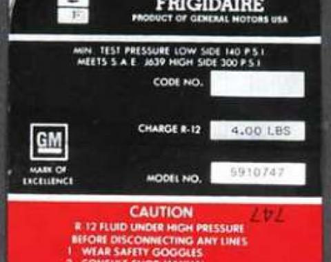 Full Size Chevy Air Conditioning Compressor Decal, Frigidaire, 1970