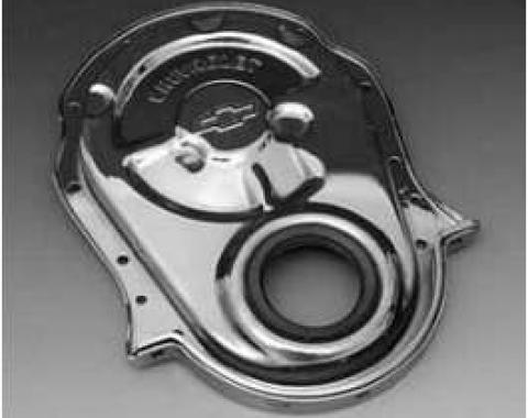 Full Size Chevy Timing Chain Cover, Big Block, With Bowtie Logo, Chrome, 1958-1972